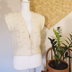 Vtg JH Collectibles Angora Lambswool Sweater Vest